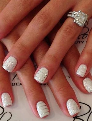 glamourous white and silver glittering wedding nails