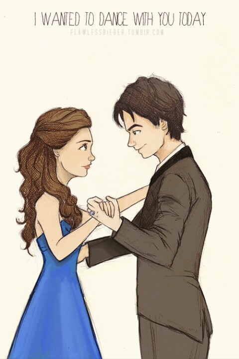 first dance Delena.... Damon and Elena... drawing ( the vampire diaries)