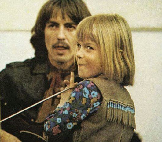 George Harrison and Heather McCartney from the Let It Be movie and recording sessions