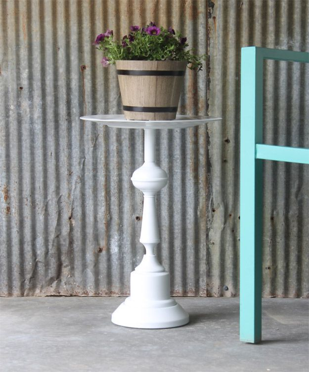 Turn a thrift store lamp and glass platter into a side table with this simple project. No power tools needed. Don't just glue it - use Liquid Nails Fuze*it.