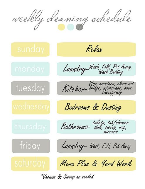 Weekly Cleaning Schedule. Maybe I should keep to this to help me keep my parents' house clean while I'm living there.