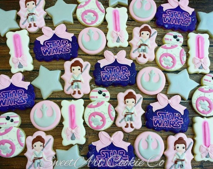 Star Wars Rey And BB-8 Girls Birthday Party Sugar Cookies TheIcedSugarCookie.com Sweet Art Cookie Co