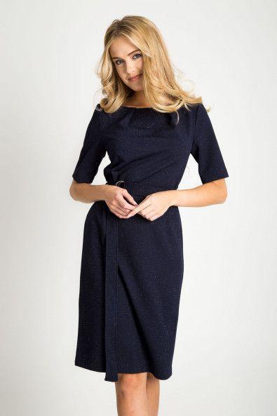 8e9a9b97e5 Granatowa sukienka midi z wiązaniem w pasie Sukienki na Sylwestra ...