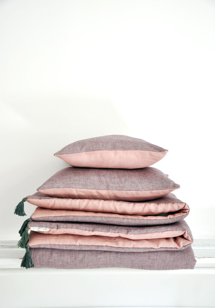 Coussin bicolore carreaux - rose - Mobilier vintage - Bel Ordinaire