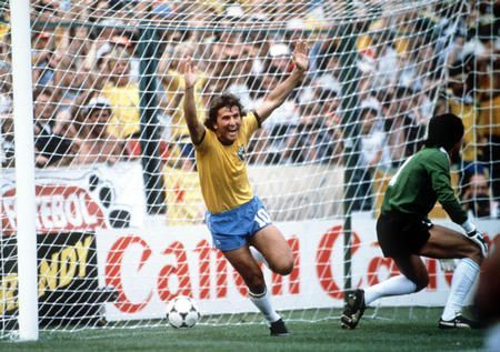 Zico scores against Argentina in the 1982 World Cup