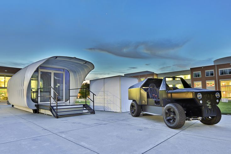SOM's 3D-printed shelter (left) and the companion 3D-printed car developed by the Department of Energy's Oak Ridge National Laboratory.