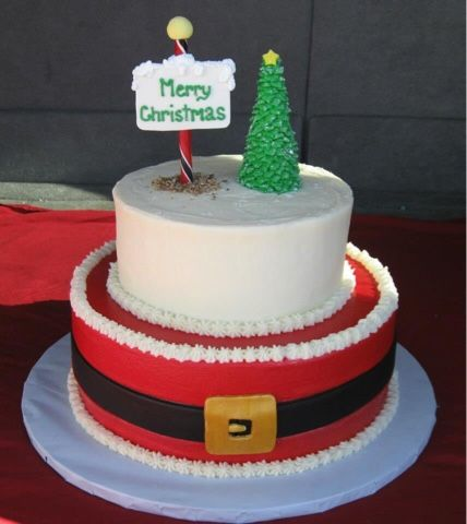 Santa's belt Christmas Cake (just use the bottom layer and then put fondant santa on top)