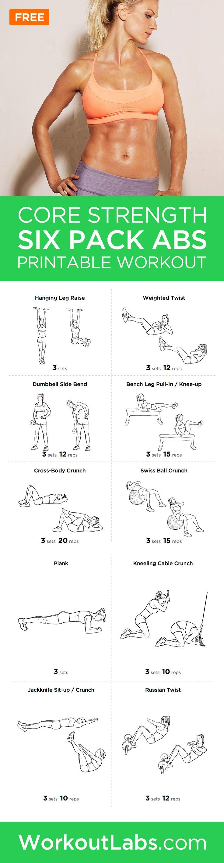 Six Pack Abs Core Strength Workout Routine for Men and Women – Want to get that perfect six pack? Try this comprehensive abdominal gym workout routine that will hit your upper and lower abs as well as obliques for a perfectly toned core. [ SkinnyFoxDetox.com ]