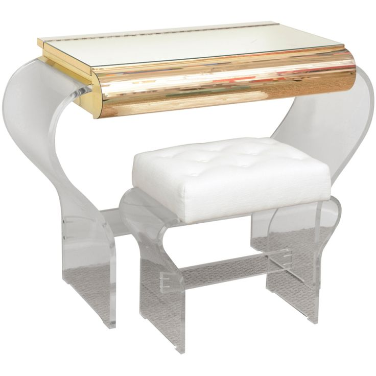 modern acrylic furniture. lucite and mirrored vanity with upholstered bench modern acrylic furniture