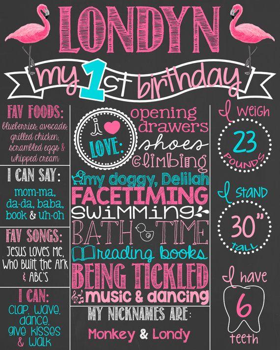 Rosa Flamingo ersten Geburtstag Tafel Poster von PersonalizedChalk
