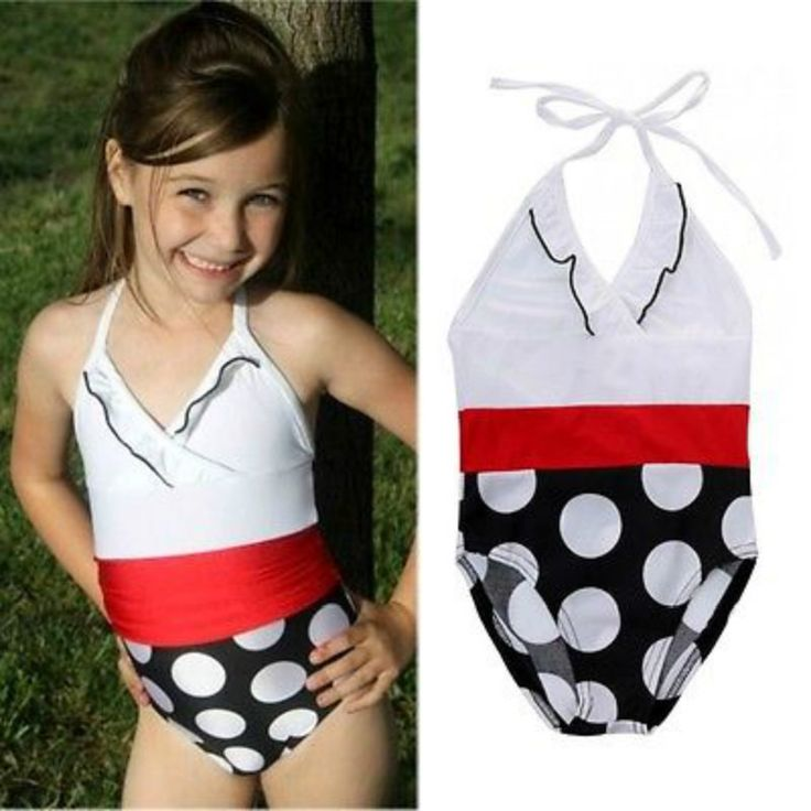 NEW Summer Toddler Girls Swimwear Polka Kids Girls Bikini Bathing Suit Children Girl Swimsuit White Dot 2-7T
