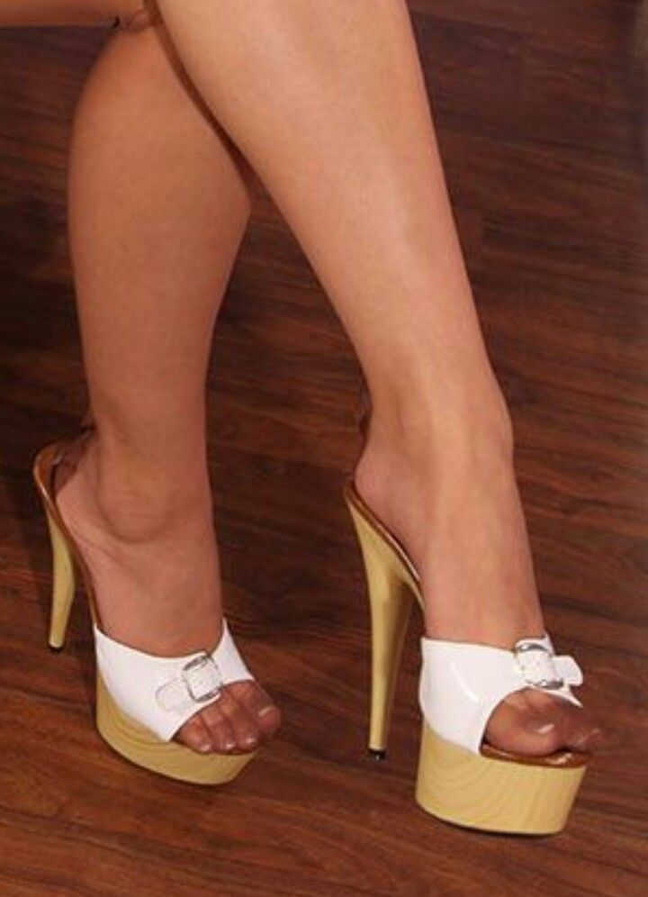 Pretty toes in RHT nylons and hot high heel mules.