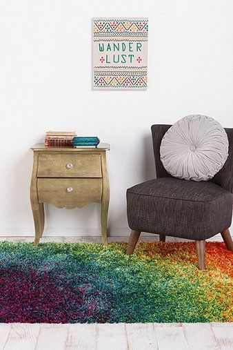 Rainbow Shag Rug. Not even funny how much I need this to my life (I want to x-pin it to three of my boards...)