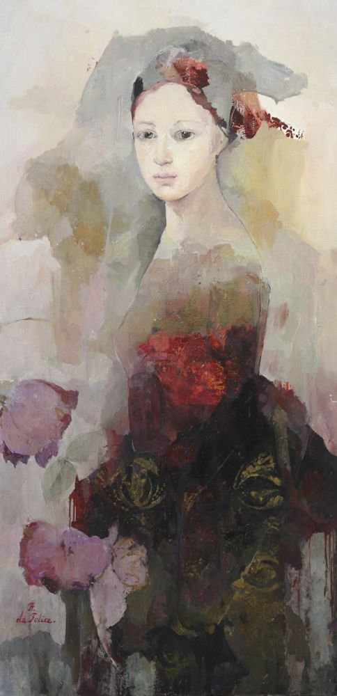 Painting by: Francoise de Felice born 1952 in Paris.  Studied Impressionism but branched off to develop her own style.  Her work is dificult to describe but I am drawn to the superimposed images, softened colors which fade out towards edge yet the faces are rendered very clearly with minimum of lines.