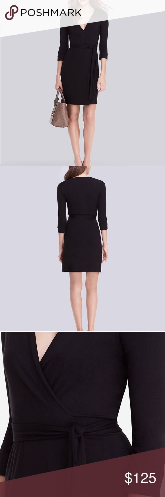 """⚡SALE! $368 New Julian Mini Jersey Wrap Dress 6 New Julian Two Mini Jersey Wrap Dress  $368.00 Gently pre-owned. No flaws. Our classic wrap dress in a playful, mini length. The New Julian Two Mini is perfect for a night on the town or a weekend getaway. Cross over wrap with a self-tie belt. 3/4 sleeves. Unlined. Falls to mid thigh. Fit runs small.  Our signature medium to lightweight dress jersey with stretch.  93% Rayon 7% Spandex  49cm / 19"""" from natural waist Diane von Furstenberg Dresses…"""