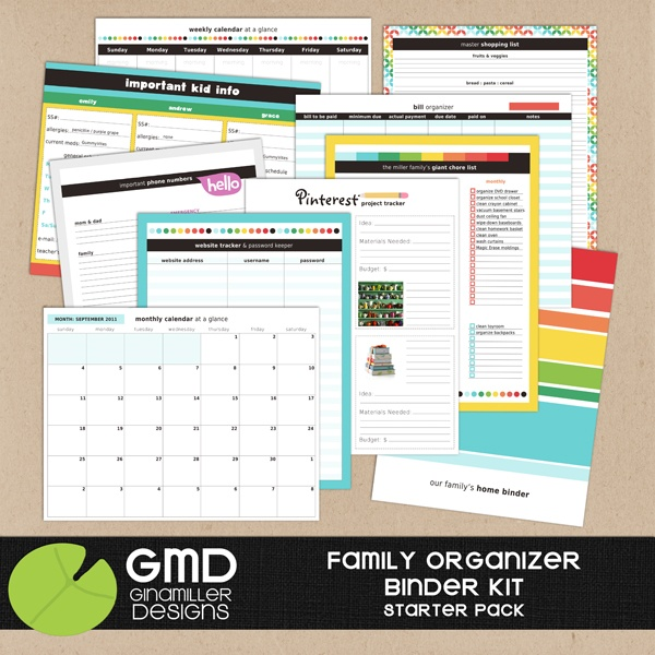 Household Organizer from The Lilypad $8: Families Binder, Starters Packs, Organizations Kits, Gina Miller, Home Organizations Binder, Families Organizations Binder, Binder Kits, Miller Design, Printable Planners