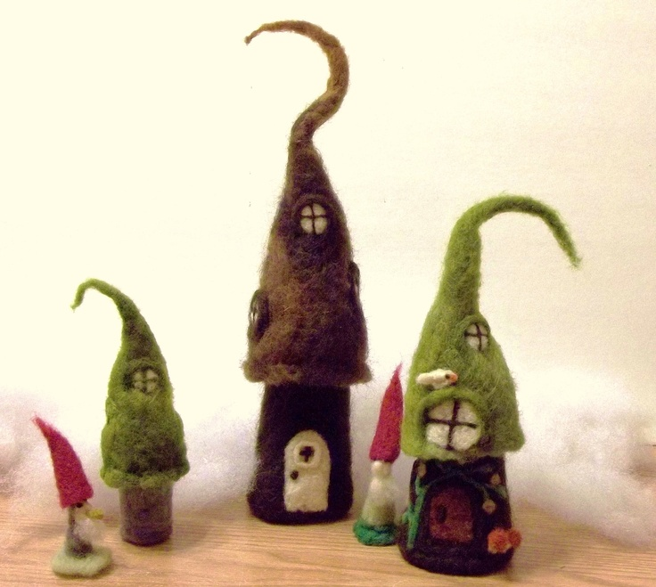 Gnome Village To Store All Smalls and Two Magical Elves to Stand Guard Over Your Treasures  Needle Felted FREE SHIPPING. $95.00, via Etsy.