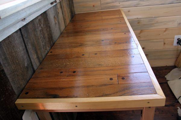 Reclaimed hardwood floors as a tabletop