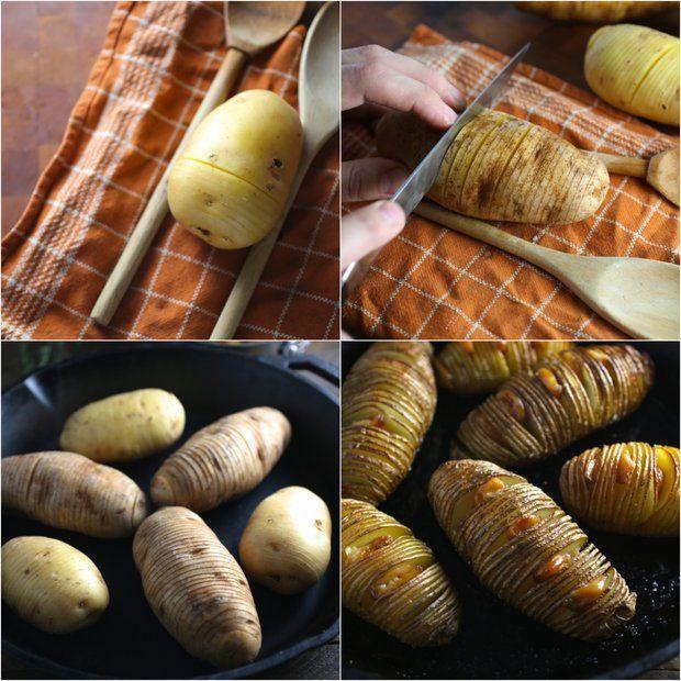 Hasselback brambory s konfitovaným česnekem 2, Foto: All