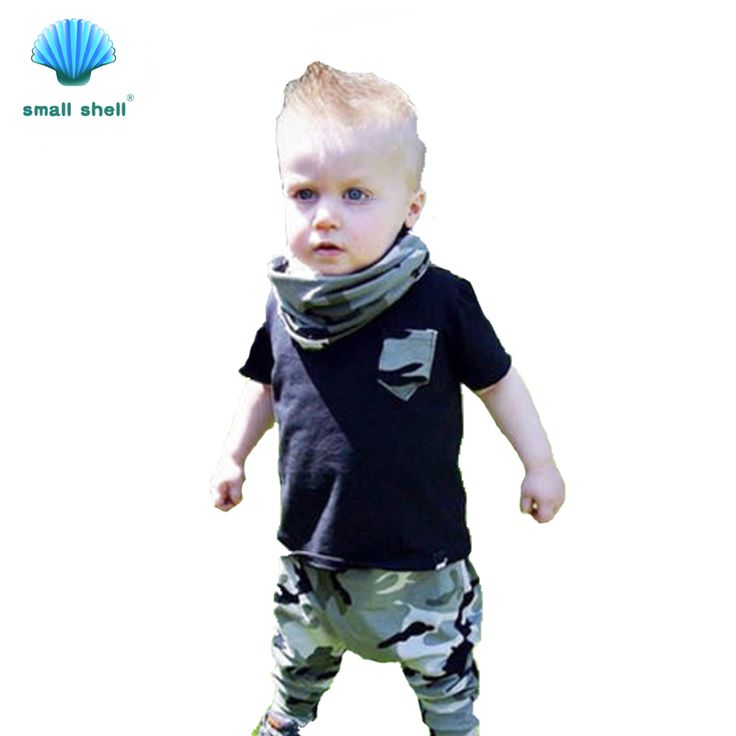 small shell 2017 Summer New Arrival Baby Boys Clothing Sets Short Sleeve Letters T-shirt+Camouflage trousers 2pcs Clothes 17011