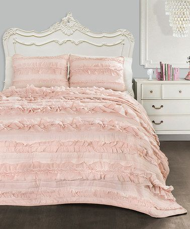 Shabby chic ruffles  prettiness Pink Blush Belle Quilt