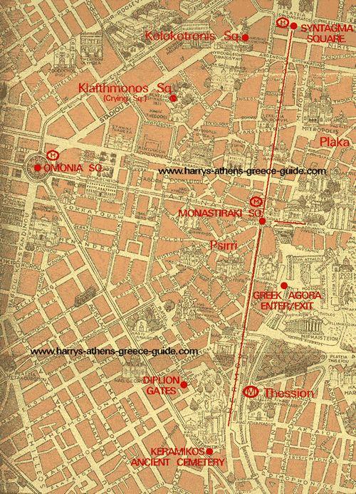 Athens Walking Tour map #2: Walk via Syntagma or Monastiraki to Keramicos Athens' Ancient Cemetery straight down Hermes or Ermou St., the Pompein and Dyplion gates.