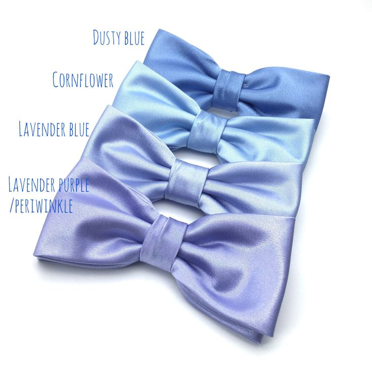 Satin Mens Bow Tie Solid BowTie Lavender Periwinkle Dusty Blue Powder Blue Bow Tie Wedding Bow Tie Groom Groomsmen Boy Kid Baby Shower Gift by GloiberryBowtie on Etsy https://www.etsy.com/uk/listing/453129278/satin-mens-bow-tie-solid-bowtie-lavender