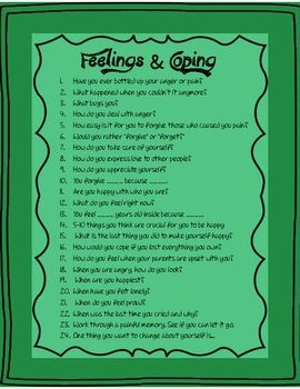 QUESTION LISTS FOR COUNSELING (DIVORCE, FEELINGS, COPING, ETC) - TeachersPayTeachers.com
