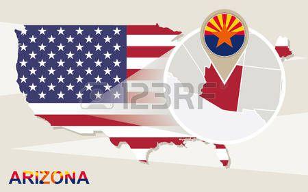 Mapa de EE.UU. con magnificada del Estado de Arizona. bandera de Arizona y el mapa.