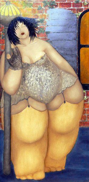 PEINTURE : CATHERINE DUCREUX - JEUNE FEMME SEULE