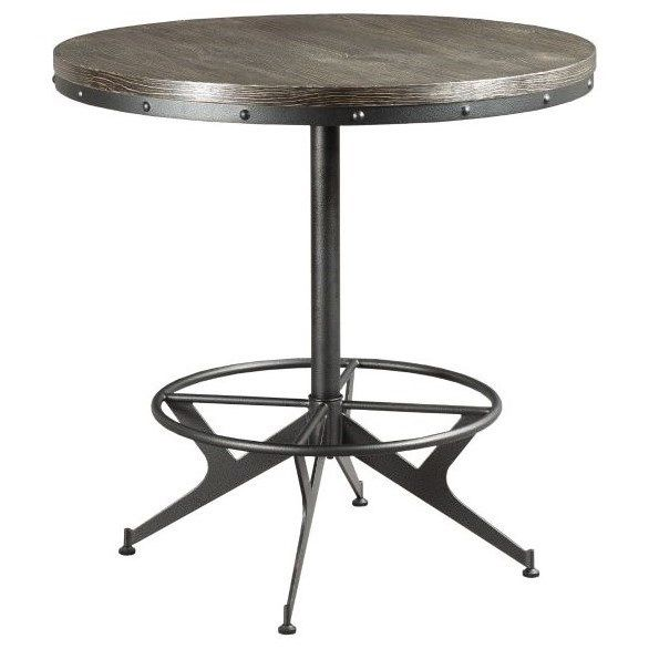 Hidden Treasures Industrial Counter Height Round Bar Table By