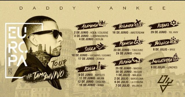 El Rey Indiscutible del Reggaeton Daddy Yankee arranca su gira #TamoEnVivo en suelo europeo   El King Daddy el Rey Indiscutible del Reggaetón arranca con su Gira #TamoEnVivo este próximo 2 de junio en Collogne Alemania. Luego del éxito que ha logrado mundialmente con su canción 'Shaky Shaky' y la colaboración junto a Luis Fonsi 'Despacito' arranca su gira más de 20 presentaciones que tendrá por todo Europa. Yankee el segundo artista más escuchado a nivel global por Spotify y el artista…