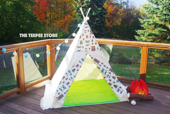 Combo Ivory Little Cute Owls Pattern Unisex Teepee  Double