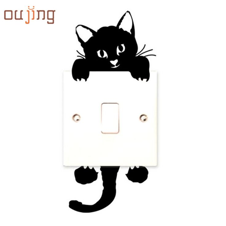 New Qualified 2016 New hot Viny Cat Wall Stickers Light Switch Art Baby Nursery bedroom Decor  Levert Dropship dig6314
