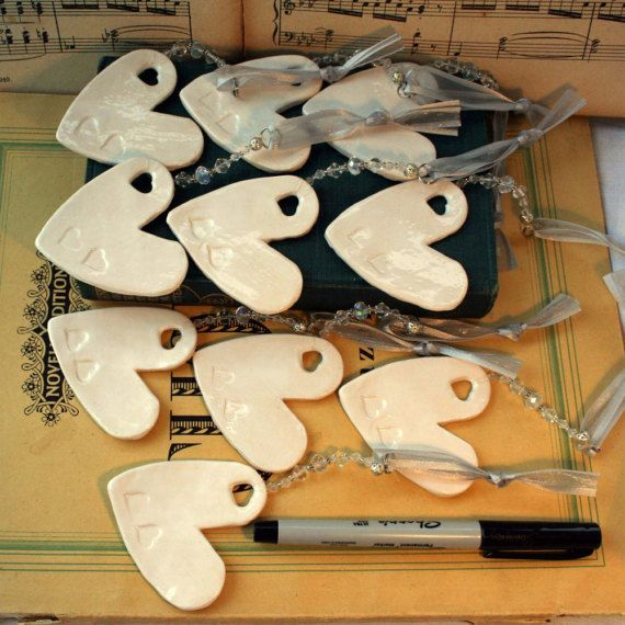 Wedding Day Pottery Hearts Hand painted by MagicalTimelessArt