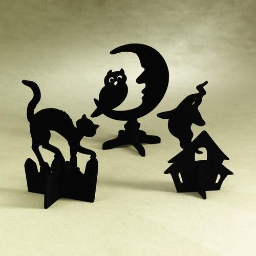 Flocked Black Cat Moon Ghost Silhouette 1495