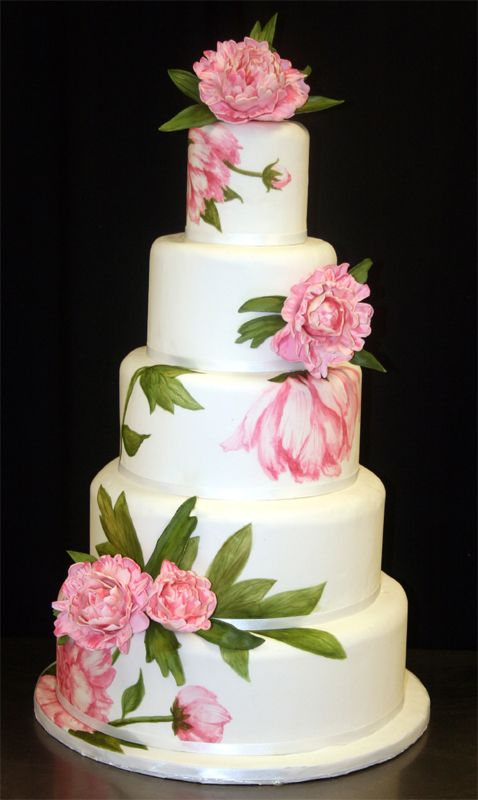 Stunning! ~ Hand painted Sugar Peonies Wedding Cake ~ all edible. Found on oh-brides.com #weddingcake #pink