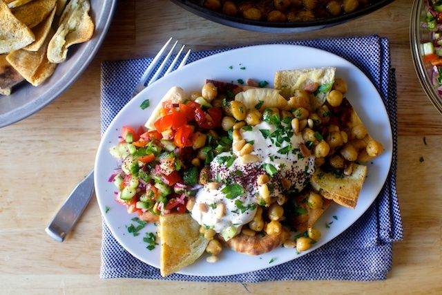 baked chickpeas with pita chips and yogurt