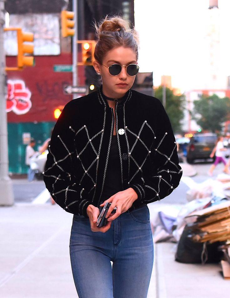 Gigi Hadid velvet bomber with beaded detail, high waisted jeans, choker - street style