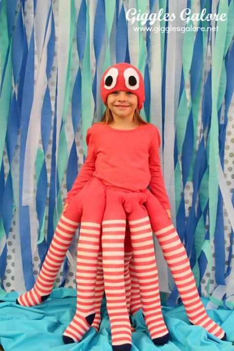 Octopus costume DIY using stockings n such...love the concept