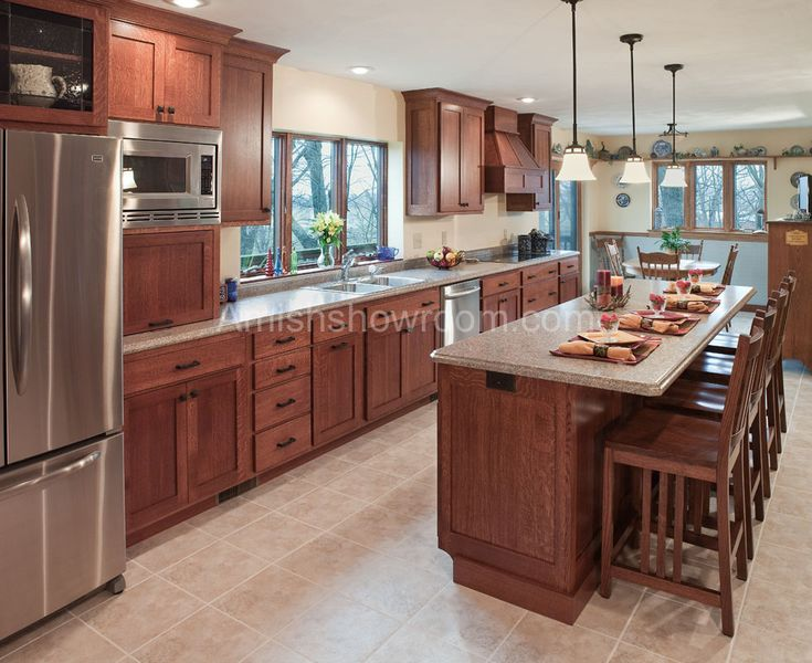 Amish Kitchen Cabinets | Mission Style 2: love the wood! makes the kitchen look classy and realistic to everyday houses!