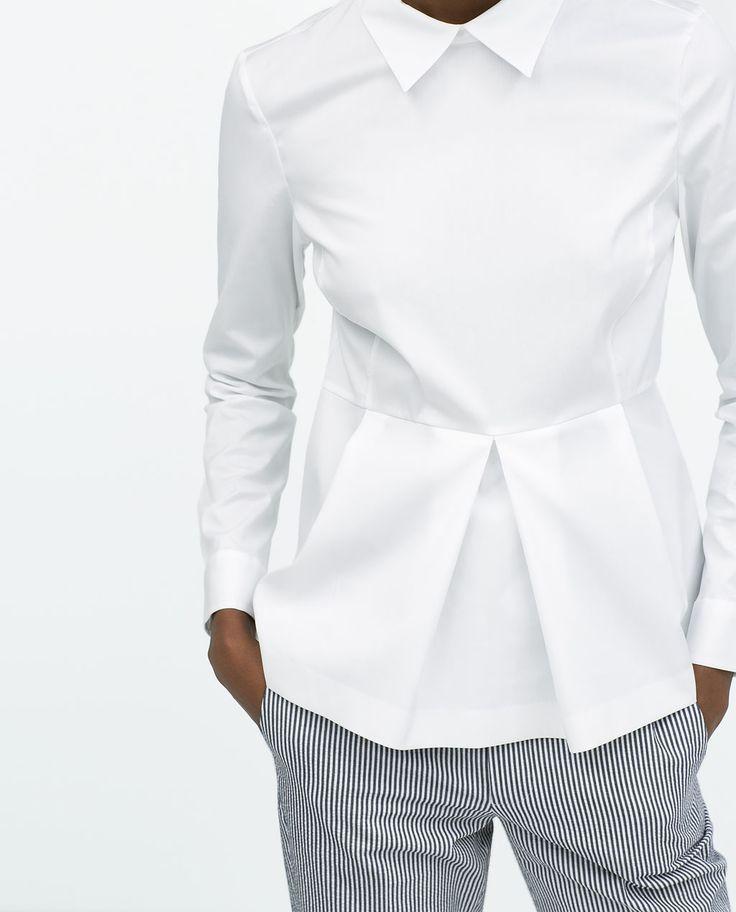 Imagine 1 din BLUZĂ CU PEPLU DIN POPLIN de pe Zara - mens black collarless shirt, shirt gents, personalized shirts *ad