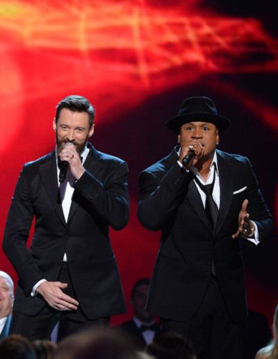 "Hugh Jackman and LL Cool J partook in a rap duet of ""Rock Island."""
