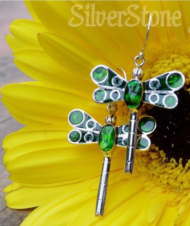 Forest green dragonfly earrings | Dyed paua shell silver earrings