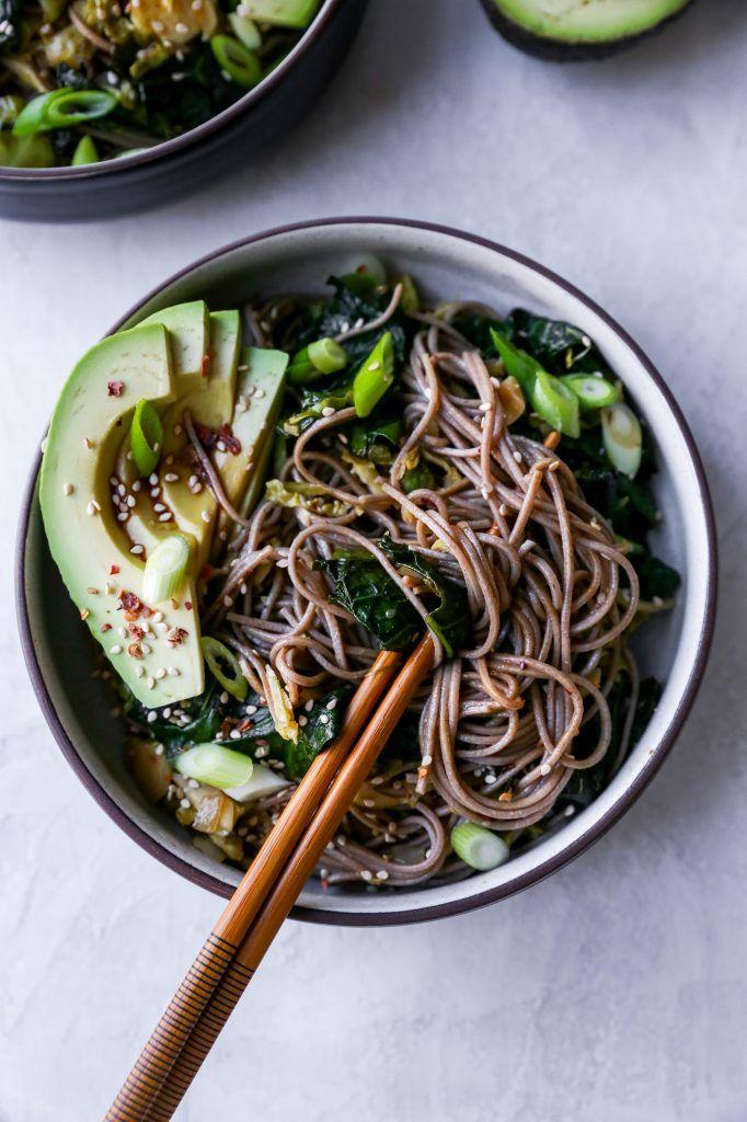 Warm Soba Noodle Salad With Greens Avocado Recipe Soba Noodles Salad Soba Noodles Recipe Soba Noodles