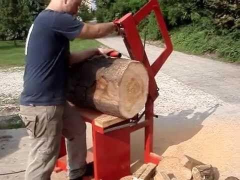 MACCHINA TAGLIO (max 40 cm) LEGNA DA ARDERE- Резка дерева - FIREWOOD SAW BENCH - YouTube