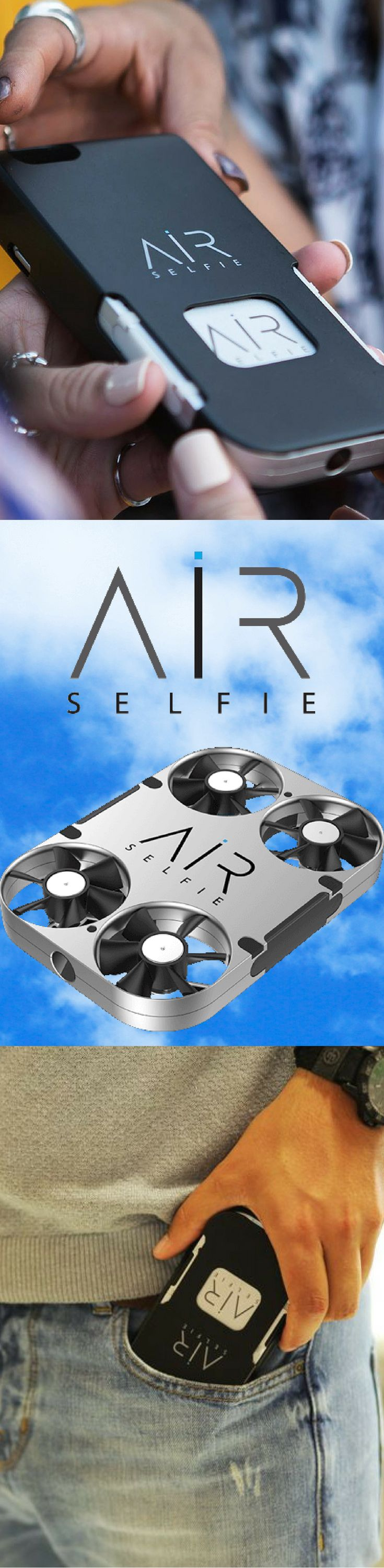 AirSelfie! Your Personal Pocket Drone. Take it everywhere with you.. The size of an Iphone or Samsung S7 edge, Take a selfie at the dinner table or out at lunch with friend... The drone that goes everywhere with you! Available Now on Amazon!