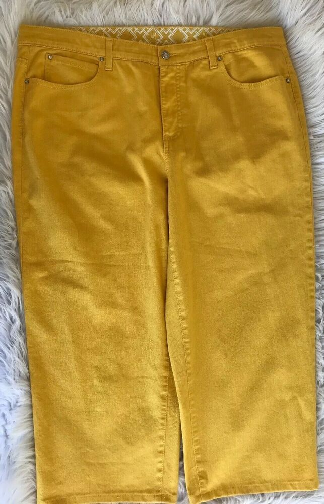 b284cd08cde JM Collection Women's Colored Denim Capri Jeans 16 Buttercup Yellow Stretch  | eBay