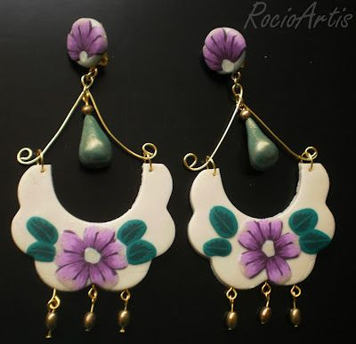 Pendientes de flamenca en arcilla polimérica. Polymer clay handmade earrings