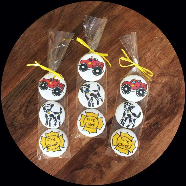 Custom Fireman Birthday @sugarlovecookiesdesigns FB sugar love cookie designs